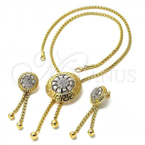 Gold Layered 06.59.0093 Necklace and Earring, Greek Key Design, with White Crystal, Golden Tone