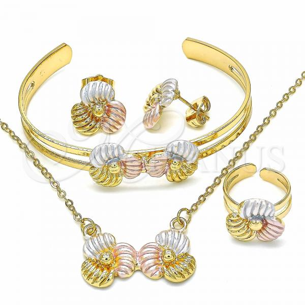Gold Layered 06.361.0016 Necklace, Bracelet, Earring and Ring, Flower Design, Polished Finish, Tri Tone