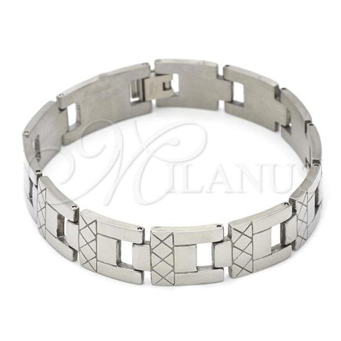 Stainless Steel 03.63.1558.08 Solid Bracelet, Polished Finish, Steel Tone