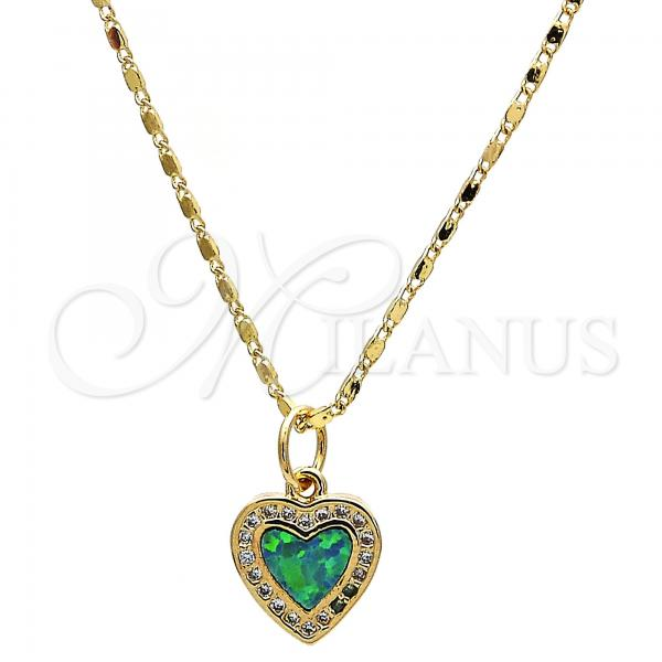 Gold Layered Pendant Necklace, Heart Design, with Opal and Micro Pave, Golden Tone