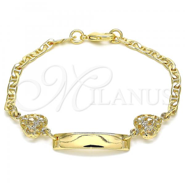 Gold Layered 03.63.2143.06 ID Bracelet, Heart Design, Polished Finish, Golden Tone