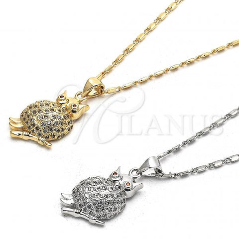 Gold Layered Pendant Necklace, Owl Design, with Micro Pave, Golden Tone
