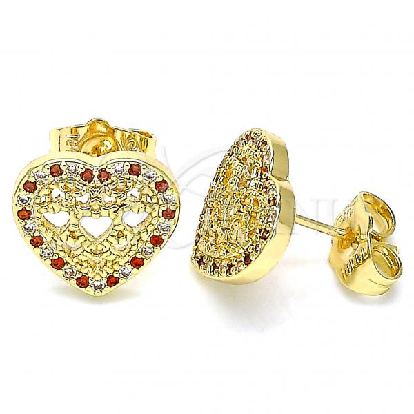 Gold Layered 02.156.0502.1 Stud Earring, Heart Design, with Garnet and White Micro Pave, Polished Finish, Golden Tone