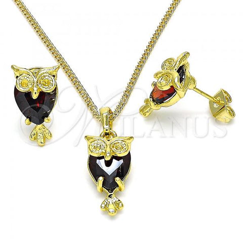 Gold Layered 10.379.0008.1 Earring and Pendant Adult Set, Owl Design, with Garnet Crystal, Polished Finish, Golden Tone