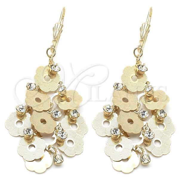 Gold Layered 5.080.005 Chandelier Earring, Flower Design, with White Cubic Zirconia, Diamond Cutting Finish, Golden Tone
