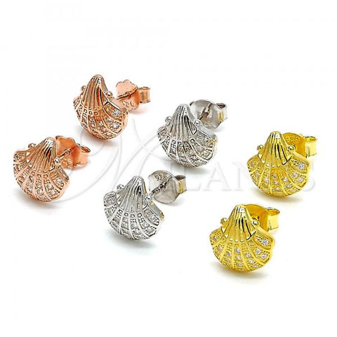 Sterling Silver Stud Earring, Shell Design, with Micro Pave, Rhodium Tone