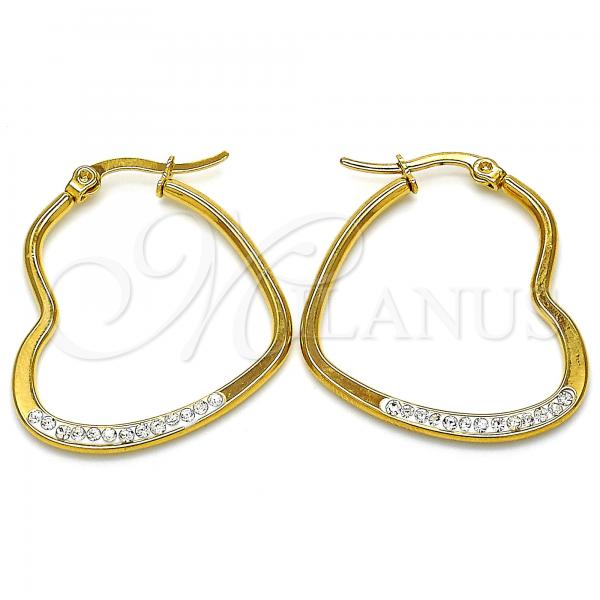 Stainless Steel 02.355.0002.30 Medium Hoop, Heart Design, with White Crystal, Polished Finish, Golden Tone
