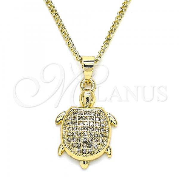 Gold Layered 04.344.0025.20 Pendant Necklace, Turtle Design, with White Micro Pave, Polished Finish, Golden Tone