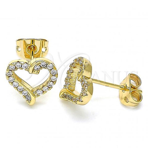 Gold Layered 02.342.0099 Stud Earring, Heart Design, with White Micro Pave, Polished Finish, Golden Tone