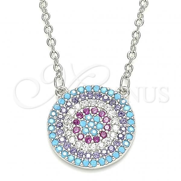 Sterling Silver 04.336.0220.16 Fancy Necklace, with Multicolor Cubic Zirconia, Polished Finish, Rhodium Tone