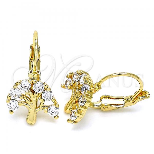 Gold Layered 02.210.0383 Leverback Earring, Tree Design, with White Cubic Zirconia, Polished Finish, Golden Tone