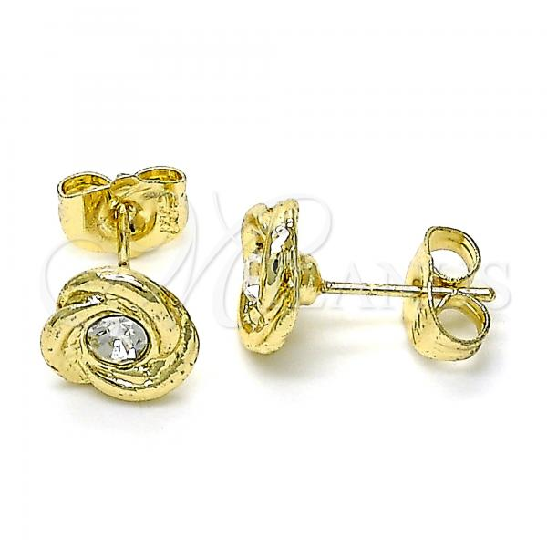 Gold Layered 02.213.0168 Stud Earring, with White Crystal, Polished Finish, Golden Tone