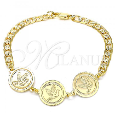Gold Layered 03.63.2050.08 Fancy Bracelet, Bird Design, Polished Finish, Golden Tone
