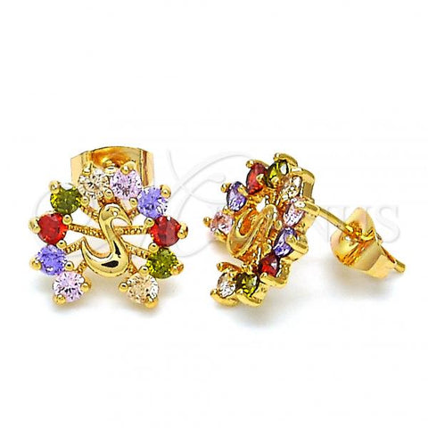 Gold Layered 02.345.0012 Stud Earring, Peacock Design, with Multicolor Cubic Zirconia, Polished Finish, Golden Tone