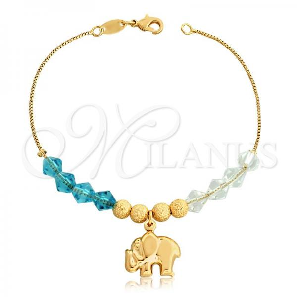Gold Layered 03.32.0202.07 Charm Bracelet, Elephant and Box Design, with White and Aqua Blue Crystal, Polished Finish, Golden Tone