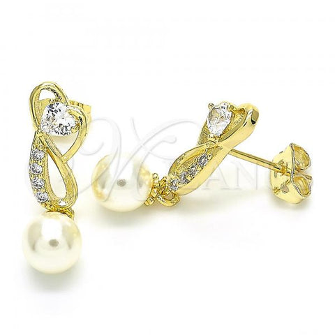 Gold Layered 02.156.0366 Dangle Earring, Heart and Ball Design, with White Cubic Zirconia and Ivory Pearl, Polished Finish, Golden Tone