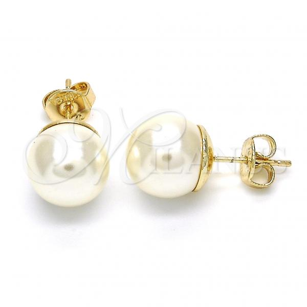 Gold Layered 02.63.2121 Stud Earring, Ball Design, with Ivory Pearl, Polished Finish, Golden Tone