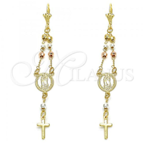 Gold Layered Long Earring, Guadalupe and Cross Design, Tri Tone