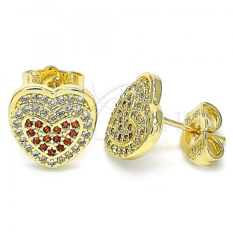 Gold Layered 02.156.0508.1 Stud Earring, Heart Design, with Garnet and White Micro Pave, Polished Finish, Golden Tone