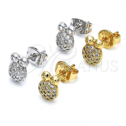 Gold Layered Stud Earring, Frog Design, with Micro Pave, Golden Tone