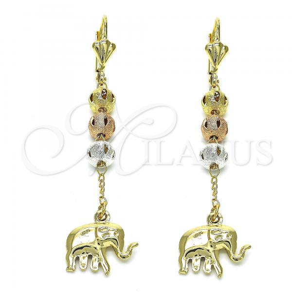 Gold Layered 02.351.0017 Long Earring, Elephant Design, Polished Finish, Tri Tone
