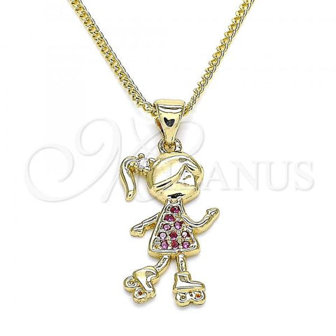 Gold Layered 04.156.0280.20 Pendant Necklace, Little Girl Design, with White Micro Pave, Polished Finish, Golden Tone
