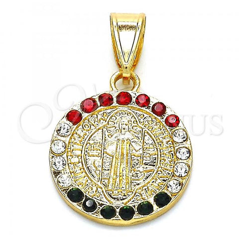 Gold Layered 05.351.0010 Religious Pendant, San Benito Design, with Multicolor Crystal, Polished Finish, Golden Tone