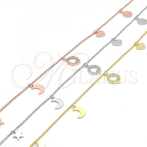 Sterling Silver Charm Anklet , Moon and Star Design, with Cubic Zirconia, Rhodium Tone