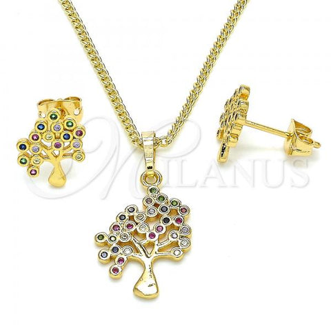 Gold Layered 10.342.0005 Earring and Pendant Adult Set, Tree Design, with Multicolor Cubic Zirconia, Polished Finish, Golden Tone