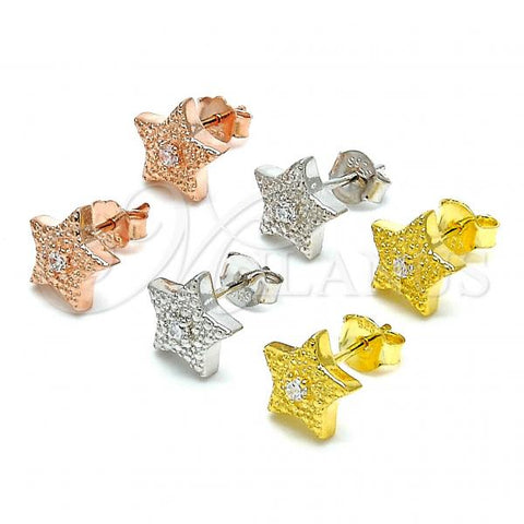 Sterling Silver Stud Earring, Star Design, with Cubic Zirconia, Rhodium Tone