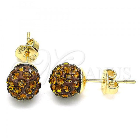 Gold Layered 02.63.2707.7 Stud Earring, with Coffee Crystal, Polished Finish, Golden Tone