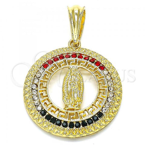 Gold Layered 05.351.0001 Religious Pendant, Guadalupe and Greek Key Design, with Multicolor Crystal, Polished Finish, Golden Tone