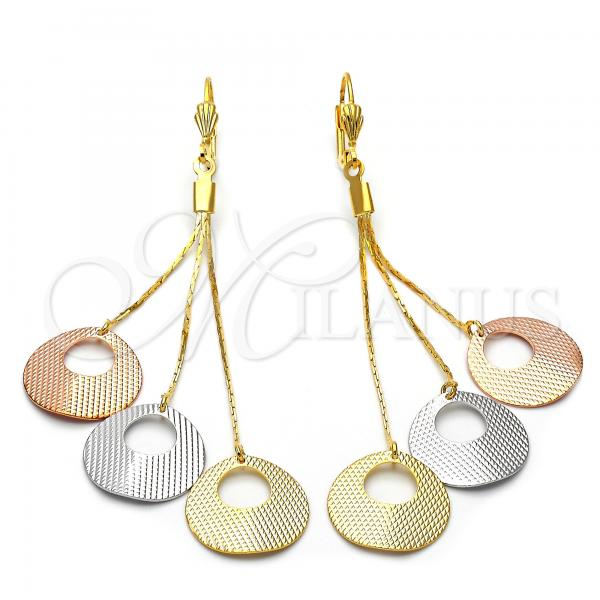 Gold Layered 5.102.005 Long Earring, Diamond Cutting Finish, Tri Tone