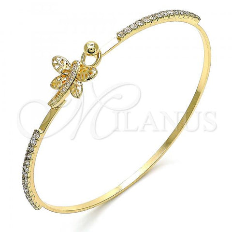 Gold Layered 07.193.0026.04 Individual Bangle, Dragon-Fly Design, with White Micro Pave and White Crystal, Polished Finish, Golden Tone (02 MM Thickness, Size 4 - 2.25 Diameter)
