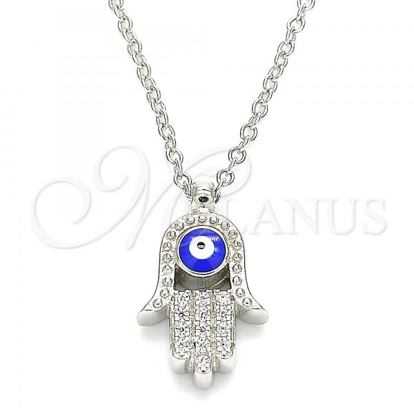 Sterling Silver 04.336.0178.16 Fancy Necklace, Hand of God and Greek Eye Design, with White Cubic Zirconia, Blue Enamel Finish, Rhodium Tone