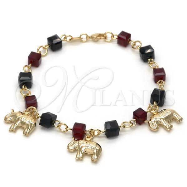 Gold Layered 03.32.0125.07 Charm Bracelet, Elephant Design, with Garnet Crystal and Black Cubic Zirconia, Polished Finish, Golden Tone