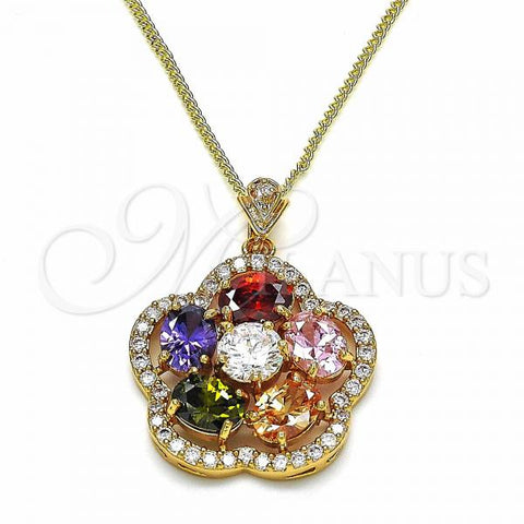 Gold Layered 04.284.0018.20 Fancy Necklace, Flower Design, with Multicolor Cubic Zirconia, Polished Finish, Golden Tone