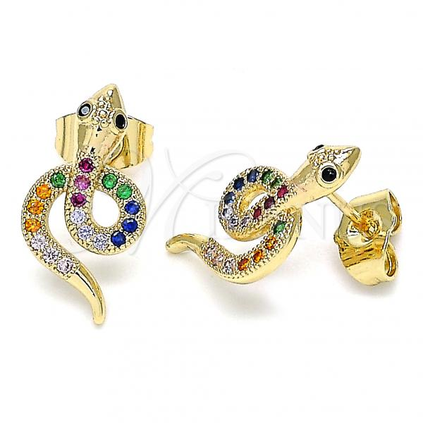Gold Layered 02.210.0375.1 Stud Earring, Snake Design, with Multicolor Micro Pave, Polished Finish, Golden Tone