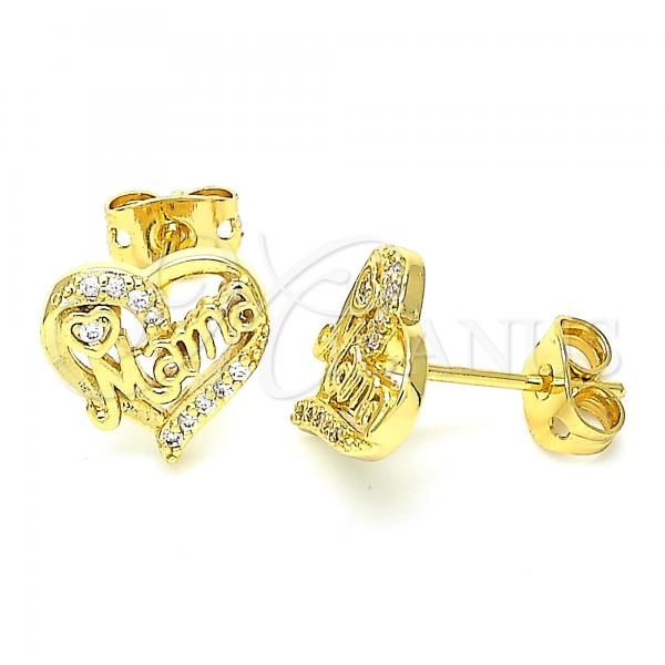 Gold Layered 02.342.0067 Stud Earring, Heart Design, with White Cubic Zirconia, Polished Finish, Golden Tone