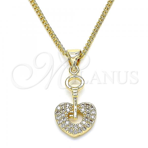 Gold Layered 04.156.0083.1.20 Pendant Necklace, key and Lock Design, with White Micro Pave, Polished Finish, Golden Tone