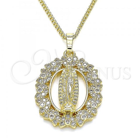 Gold Layered 04.284.0046.20 Pendant Necklace, Guadalupe and Heart Design, with White Micro Pave, Polished Finish, Golden Tone