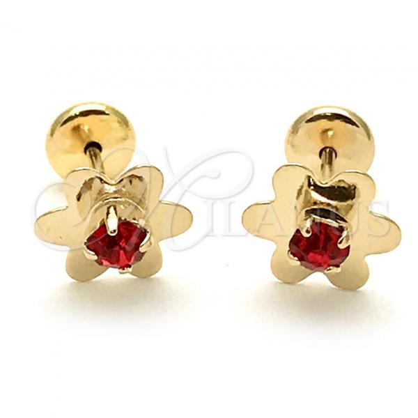 Gold Layered 02.09.0205 Leverback Earring, Flower Design, with Garnet Cubic Zirconia, Polished Finish, Golden Tone