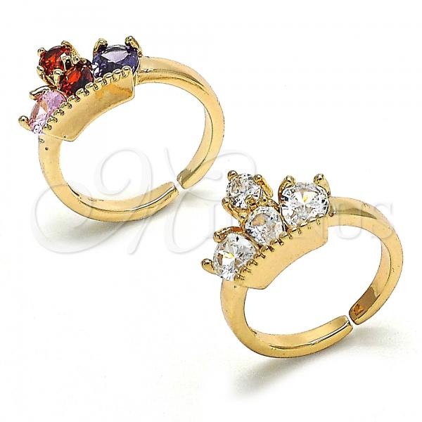 Gold Layered Multi Stone Ring, Crown and Teardrop Design, with Cubic Zirconia, Golden Tone