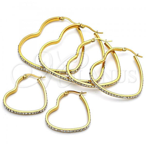 Stainless Steel Medium Hoop, Heart Design, with Crystal, Golden Tone Design, with Crystal, Golden Tone