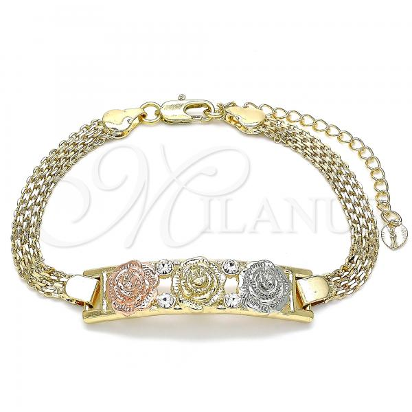 Gold Layered 03.380.0024.08 Fancy Bracelet, Flower Design, with White Crystal, Polished Finish, Tri Tone