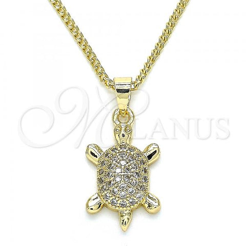 Gold Layered 04.344.0029.20 Pendant Necklace, Turtle Design, with White Micro Pave, Polished Finish, Golden Tone