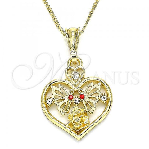 Gold Layered 04.351.0022.1.20 Pendant Necklace, Heart and Butterfly Design, with Garnet and White Crystal, Polished Finish, Golden Tone
