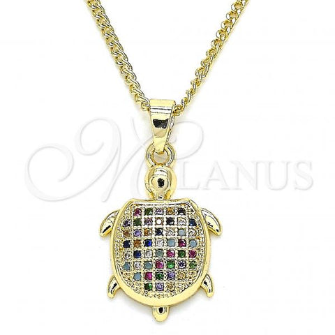Gold Layered 04.344.0025.2.20 Pendant Necklace, Turtle Design, with Multicolor Micro Pave, Polished Finish, Golden Tone