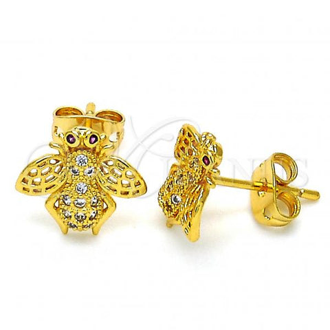 Gold Layered 02.342.0009 Stud Earring, Bee Design, with Garnet and White Micro Pave, Polished Finish, Golden Tone