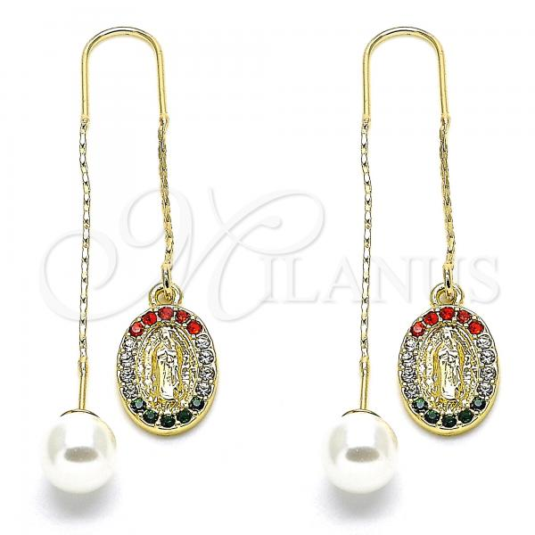 Gold Layered 02.253.0008.1 Threader Earring, Guadalupe Design, with Multicolor Crystal, Polished Finish, Golden Tone